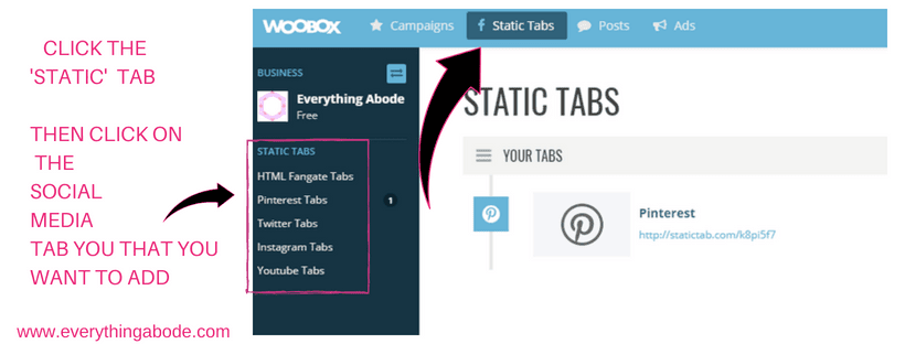 How to Create Social Media Tabs on your FB page for FREE. Step 4 woobox.com Everythingabode.com