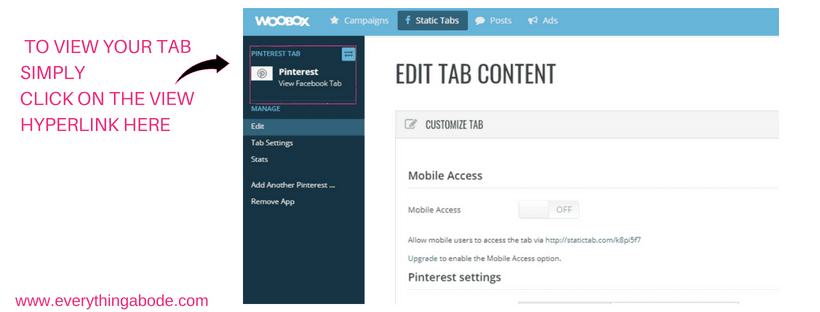 How to Create Social Media Tabs on your FB page for FREE. Step 5 woobox.com Everythingabode.com