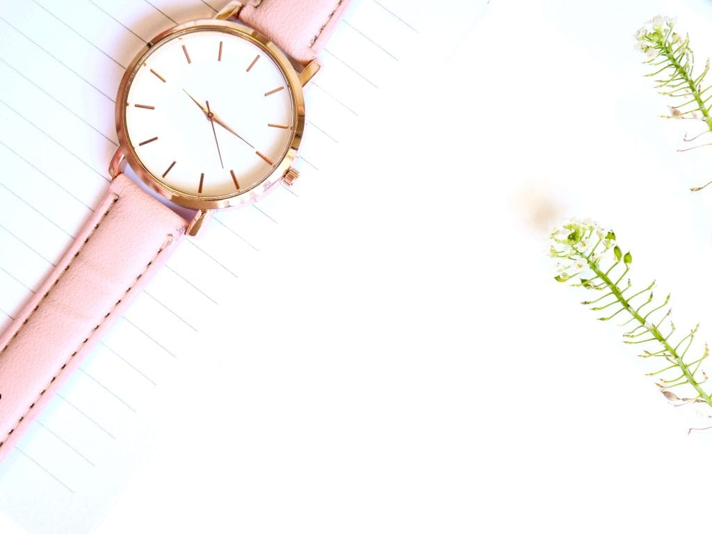 pink watch, white background, flowers