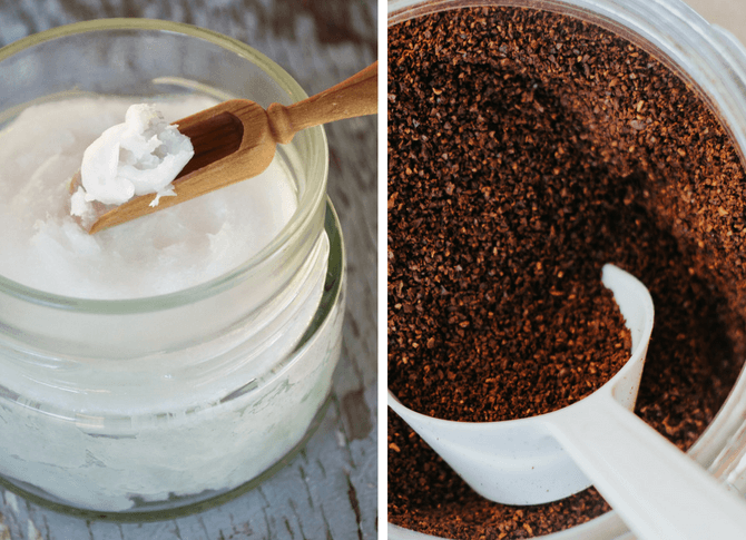 Coffee grounds in jar and coconut oil in jar with spoons to make a coconut coffee face mask mixture! 12 Beauty Hacks For Back To School! Everythingabode.com