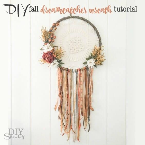 15 Stylish and Cheap DIY Fall Wreaths! DIY fall dream catcher wreath door decor tutorial by DIY Show Off
