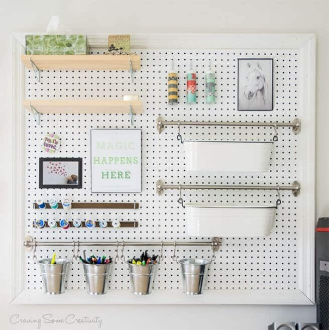 Craving Some Creativity - peg board organizing station