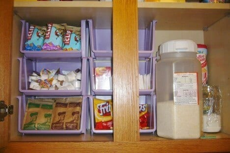 ORGANIZE KITCHEN CABINETS WITH STACKABLE BINS