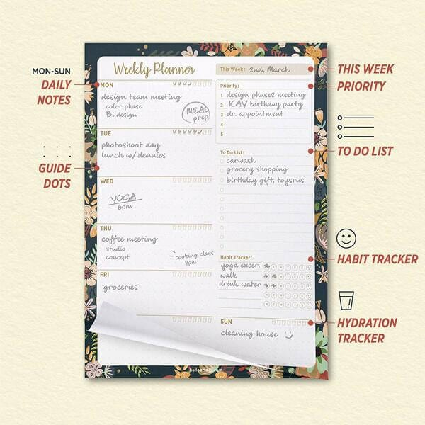 Oriday Weekly Planners Premium Task Organizer Pad - 60 Sheets