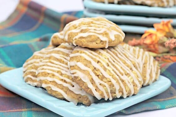 Pumpkin Cookie Recipe With A Maple Drizzle via @everythingabode