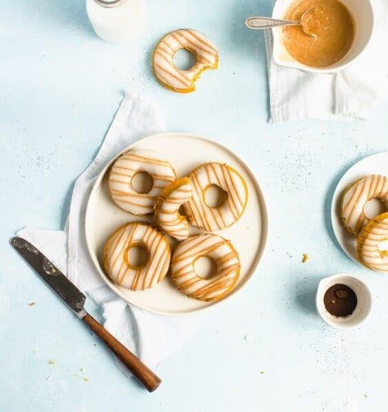 Pumpkin Spice Latte Doughnuts via @everythingabode