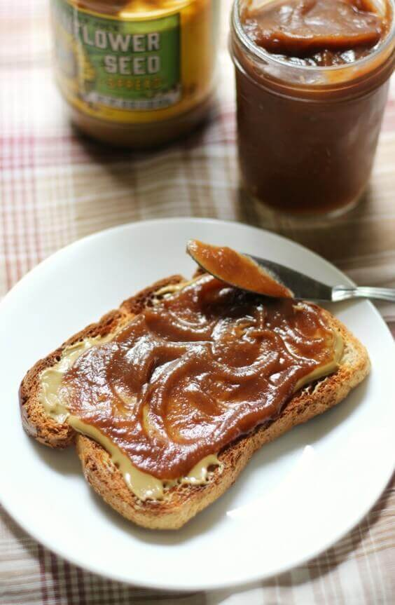 Slow Cooker Apple Butter (No Peeling Required!) via @everythingabode