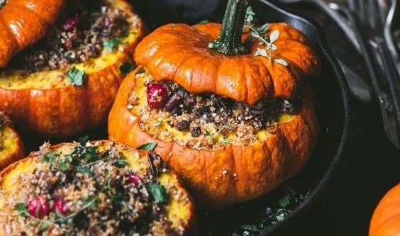 Stuffed mini pumpkins with herbed breadcrumbs via @everythingabode