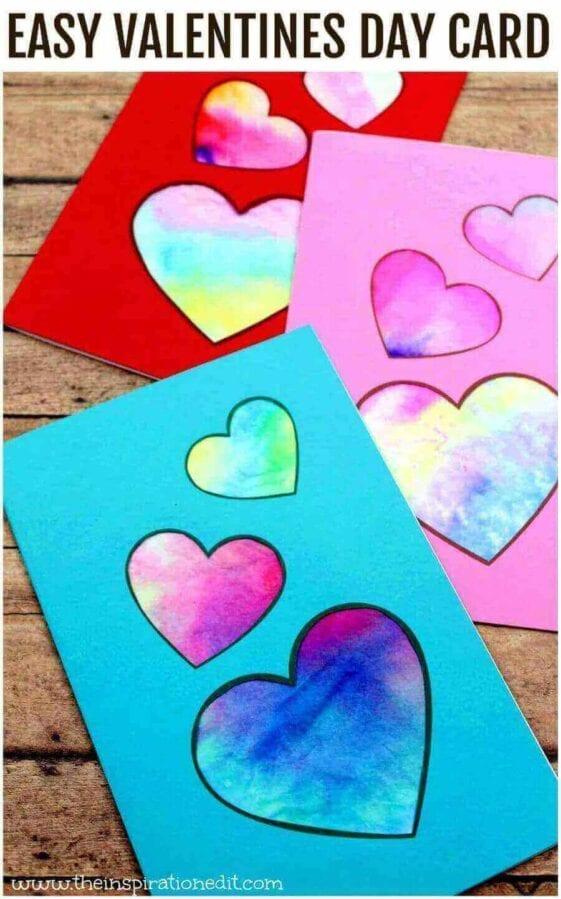 Valentine's Craft Idea #11. TIE DYE VALENTINES CARD - Everything Abode