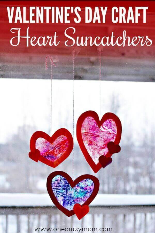Valentine's Craft Idea #12. HEART SUNCATCHER - Everything Abode