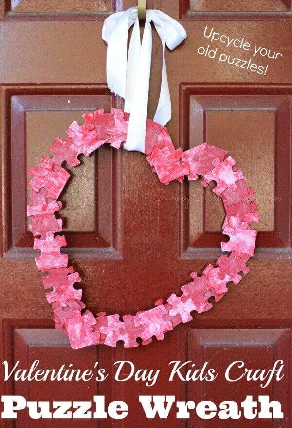 Valentine's Craft Idea #4. CRAFT PUZZLE WREATH - Everything Abode