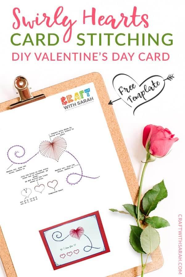 Valentine's Craft Idea #9. DIY Valentine's Day Card Stitching - Everything Abode