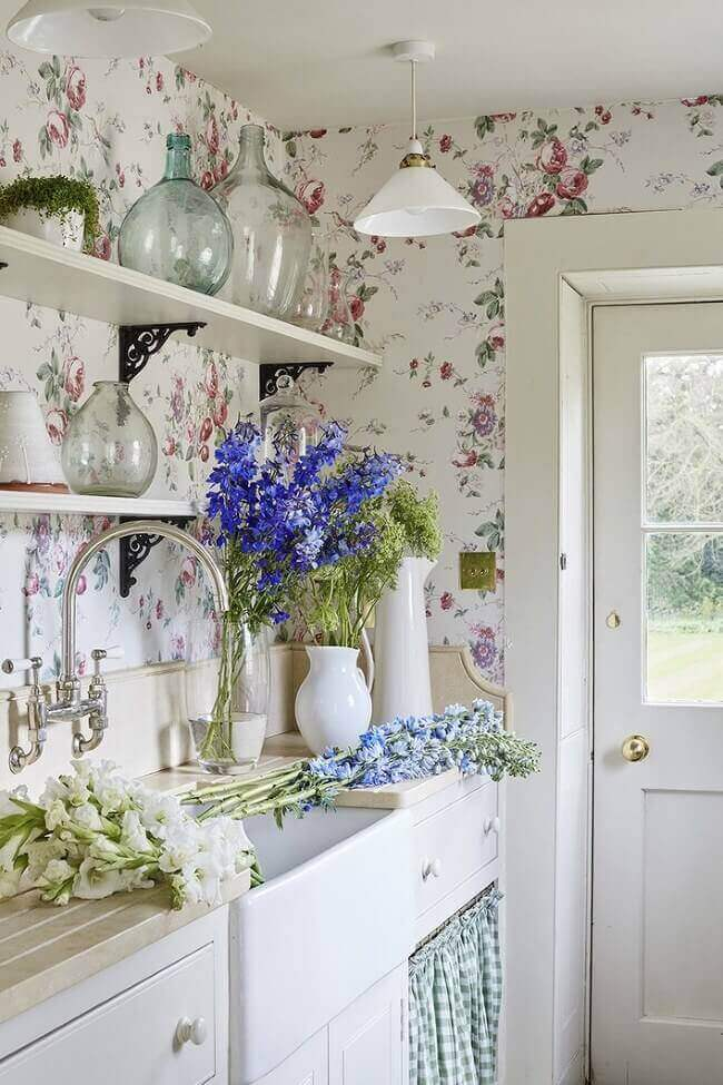 Sims-Hilditch-pantry-with-pretty-floral-wallpaper Consider a British kitchen with patterned curtains