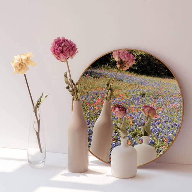 English cottage home décor with dried-flowers-minimal-vases-by-round-mirror