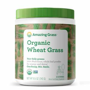Amazing Grass Wheat Grass Powder 100% Whole-Leaf Wheat Grass Powder for Energy, Detox & Immunity Support, 30 Servings