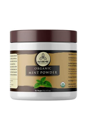 Naturevibe Botanicals Organic Mint Powder 8oz, Non-GMO and Gluten Free Supports Digestion Adds Flavor.