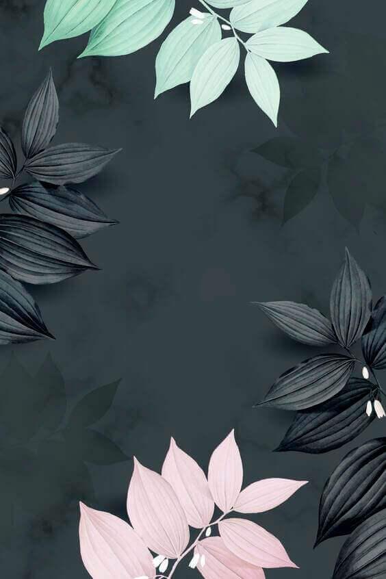 Tropical botanical leaves wallpaper, dark and black wallpaper for iphones
