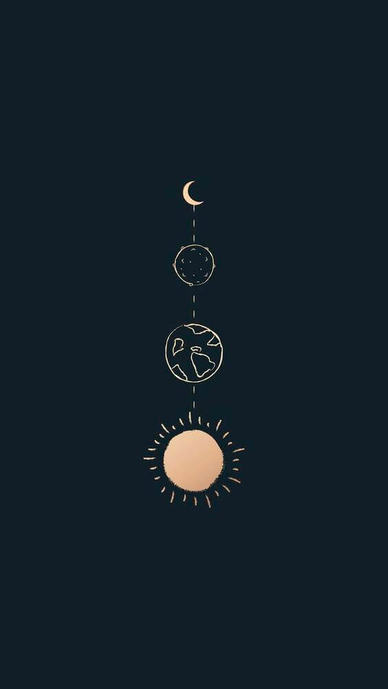 moon illustration wallpaper for phones, dark black wallpaper