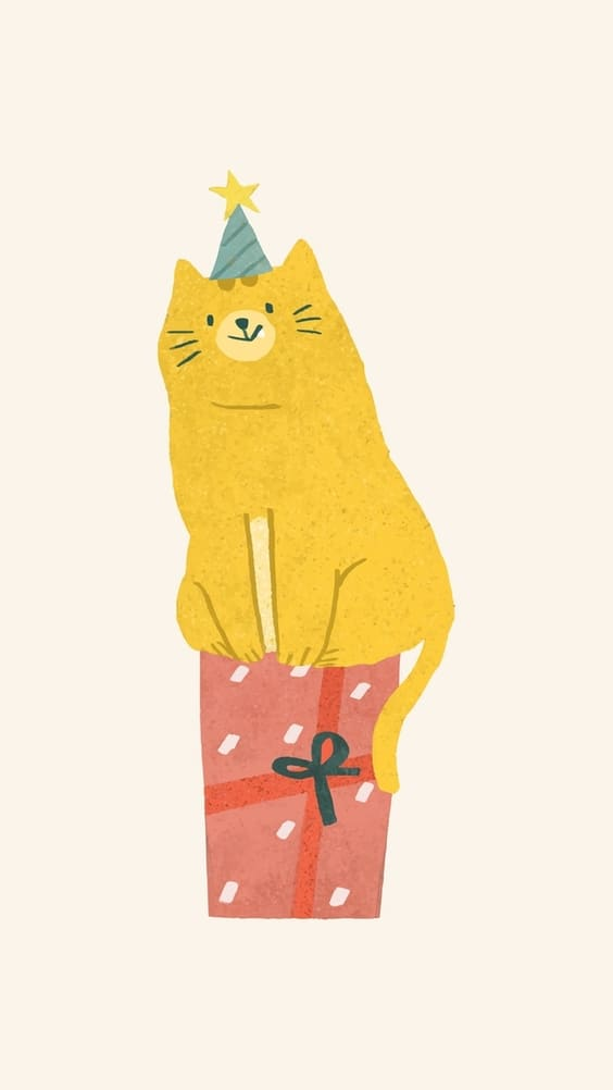 Cat perched on a gift cute wallpaper