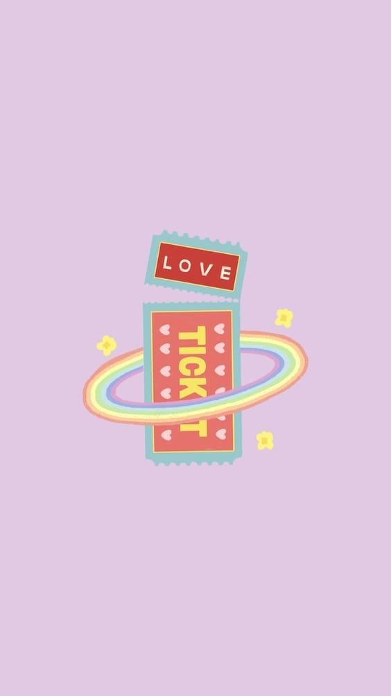 cutest love ticket mobile wallpaper