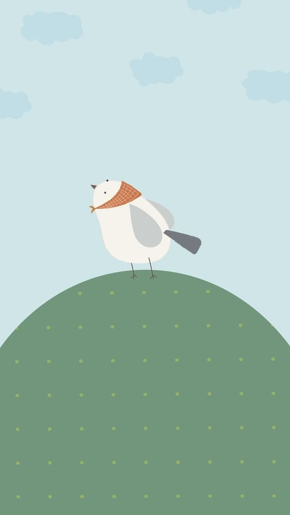 Bird on a hill cute mobile background