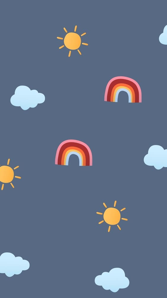 rainbows and suns mobile cute background