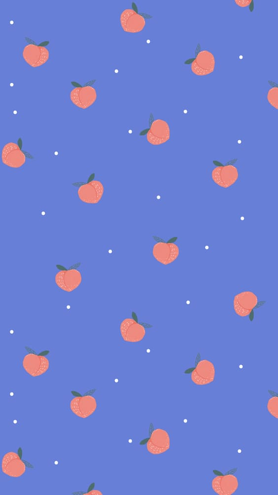 cute peaches blue background for mobile