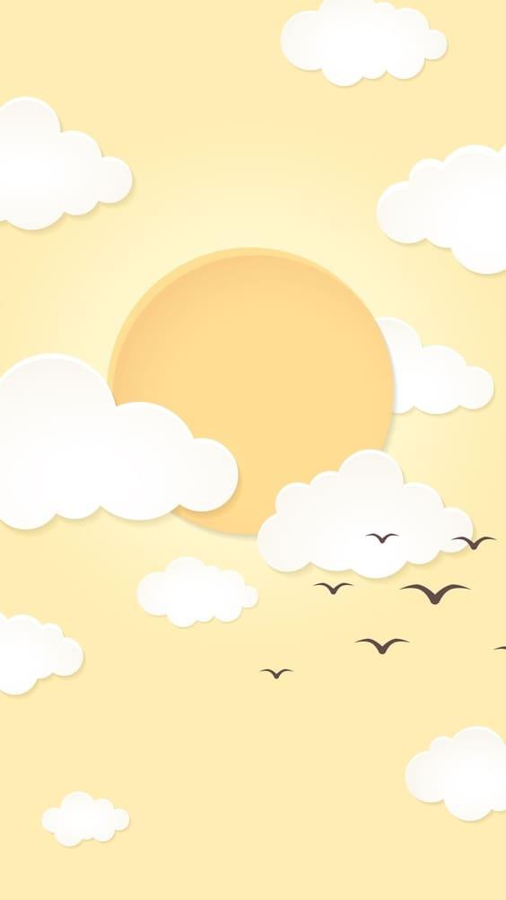 bright yellow sun cute wallpaper