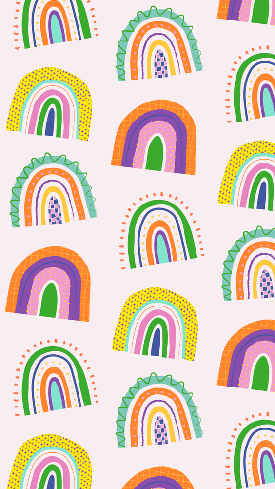 bright rainbows cute mobile background