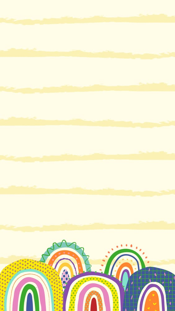 yellow background with rainbows wallpaper
