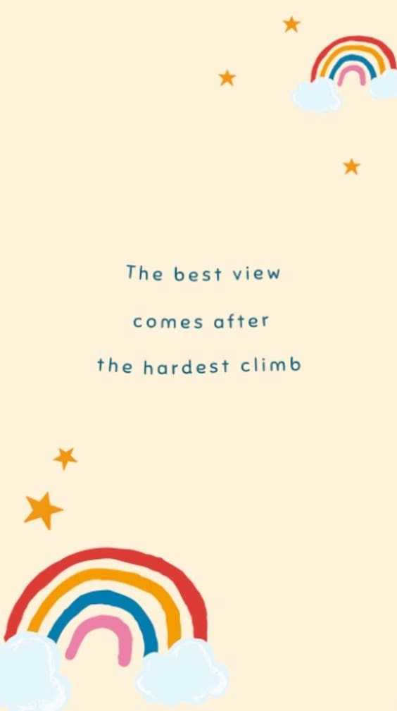 The best view comes after the hardest climb quote wallpaper