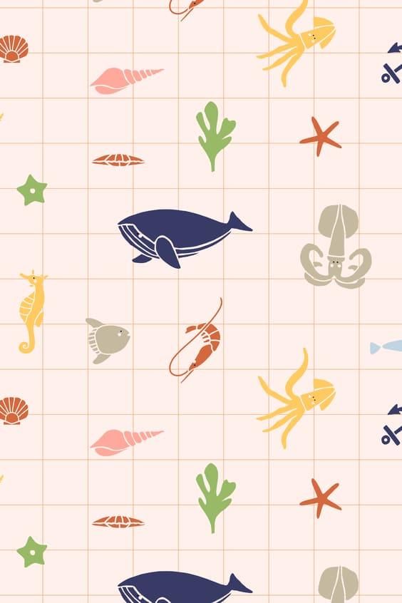 cute sea life mobile background