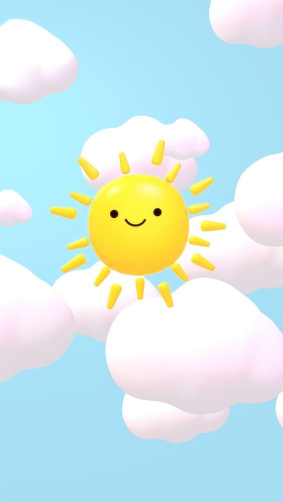 Cute sun in clouds mobile wallpaper
