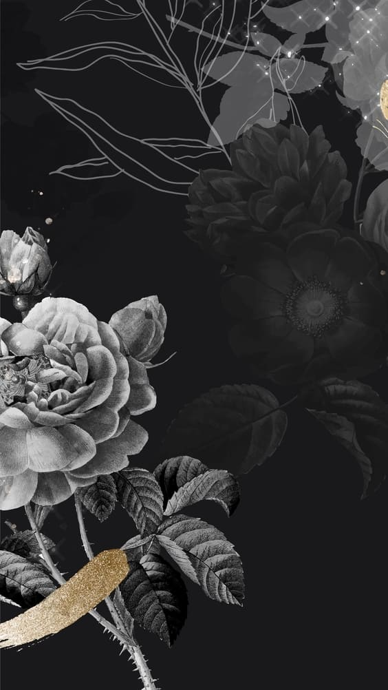 black and white flowers wallpaper picture
