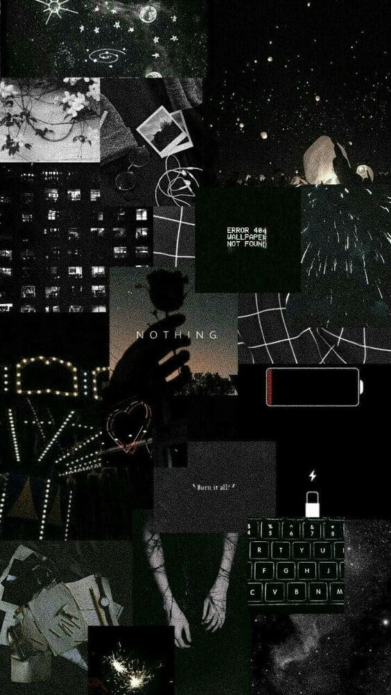 Black wallpaper abstract collage background