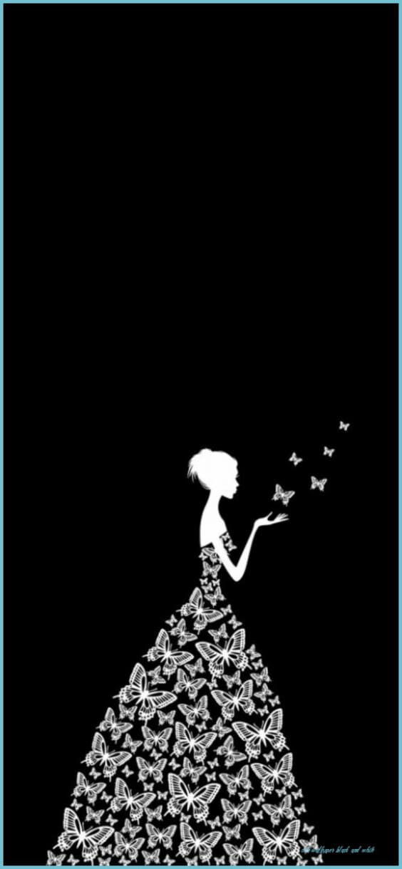 Lady silhouette with butterflies black wallpapers