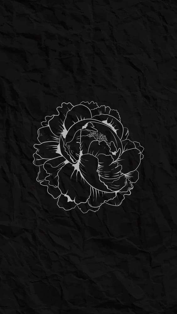 black abstract flower wallpaper