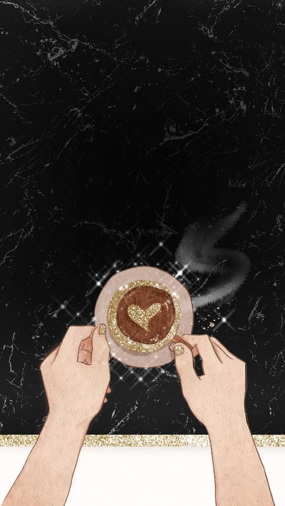 holding coffee with black background for iphone