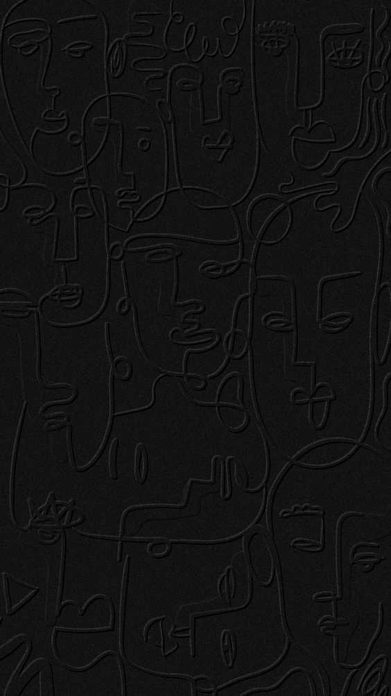 Abstract face line drawing on a black background design